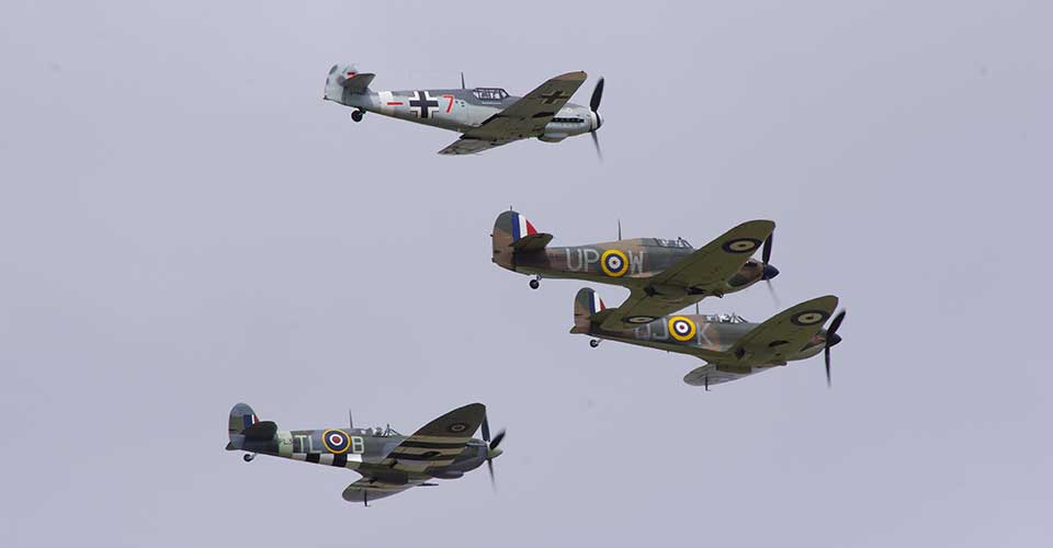 Messerschmitt Bf109, Hurricane and Spitfire in flight