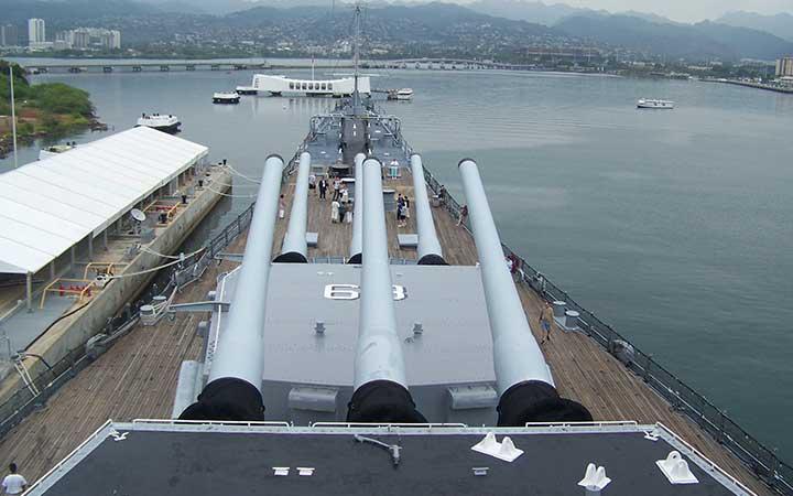 USS Missouri watching over USS Arizona - Pearl Harbor